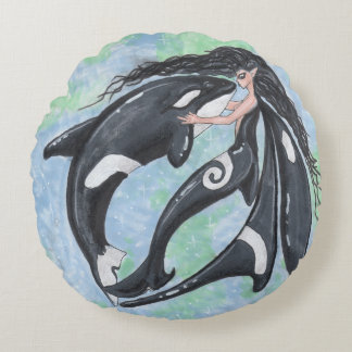 Orca Faery Pixie Killer Whale Yin Yang Round Pillow