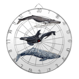 Orca, hunchbacked whale and gray whale dartboard