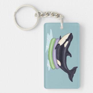 Orca in a kiddie pool Single-Sided rectangular acrylic keychain