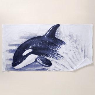 Orca Jumping Blue Beach Towel