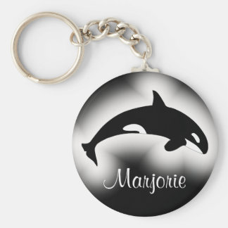 Orca Killer Whale Black and White Name Basic Round Button Keychain