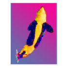 Orca Killer Whale Breaching in Bright Colours Postcard
