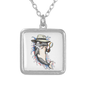 Orca Killer Whale Detective Tattoo Silver Plated Necklace