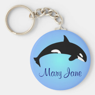 Orca Killer Whale Gradient Blue Name Basic Round Button Keychain