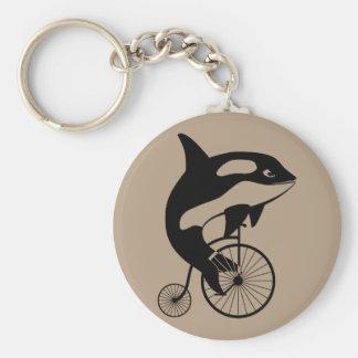 Orca Killer Whale on Vintage Bike Basic Round Button Keychain