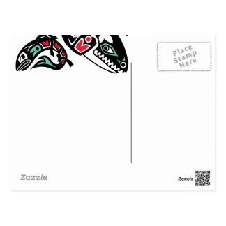 Orca Killer Whale & Salmon - Haida color graphic Postcard