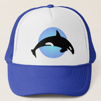 Orca Killer Whale Silhouette Blue Circle Trucker Hat