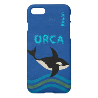 Orca Leather Look iphone7 Ocean Scene Add Name iPhone 7 Case