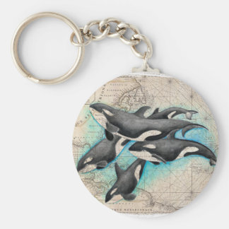 Orca Map Atlas Basic Round Button Keychain