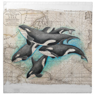Orca Map Atlas Napkin