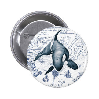 Orca Map Blue 2 Inch Round Button