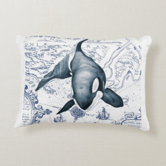Orca Map Blue Accent Pillow