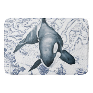 Orca Map Blue Bath Mat