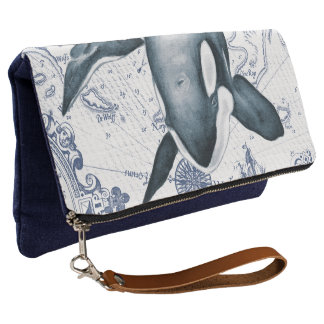 Orca Map Blue Clutch
