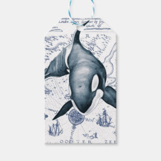 Orca Map Blue Gift Tags