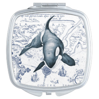 Orca Map Blue Makeup Mirrors
