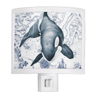 Orca Map Blue Night Light