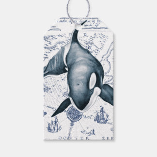 Orca Map Blue Pack Of Gift Tags
