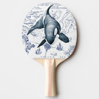 Orca Map Blue Ping Pong Paddle