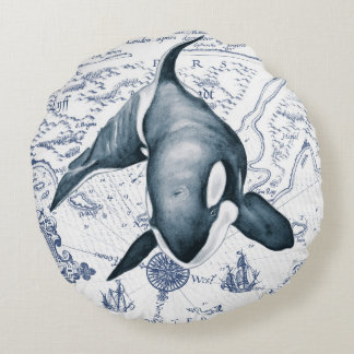 Orca Map Blue Round Pillow
