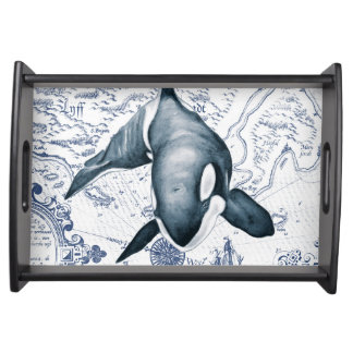 Orca Map Blue Serving Tray