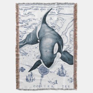 Orca Map Blue Throw Blanket