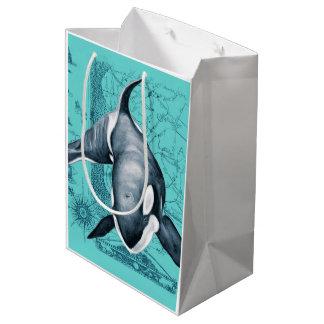 Orca Map Teal Medium Gift Bag