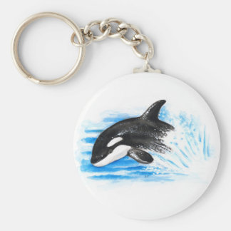 Orca Playing Basic Round Button Keychain