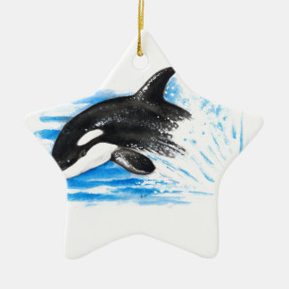 Orca Playing Ceramic Ornament