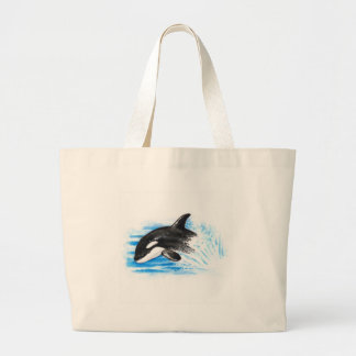 Orca Playing Large Tote Bag