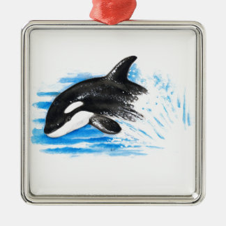 Orca Playing Metal Ornament
