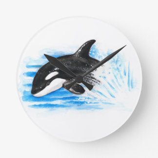 Orca Playing Round Clock