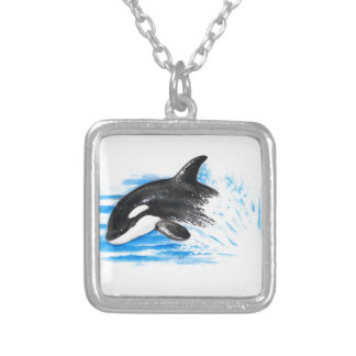 Orca Playing Silver Plated Necklace