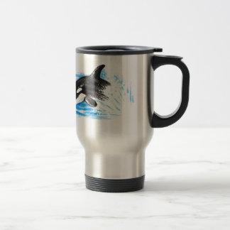 Orca Playing Travel Mug