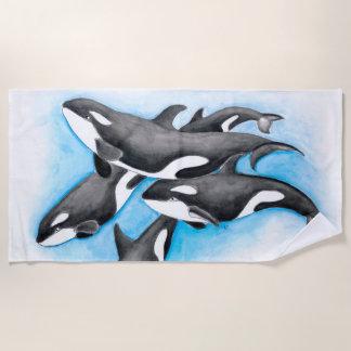 Orca Pod In Blue Beach Towel
