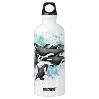 Orca Pod Watercolor Splash Water Bottle