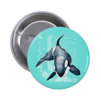 Orca Teal White 2 Inch Round Button