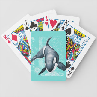 Orca Teal White Bicycle Playing Cards