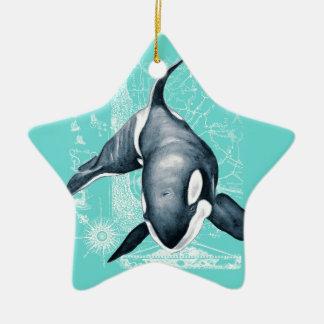 Orca Teal White Ceramic Star Ornament