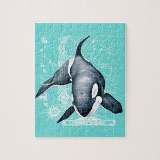 Orca Teal White Jigsaw Puzzle