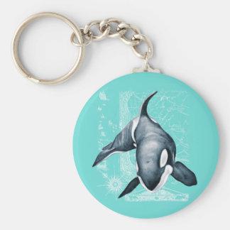 Orca Teal White Keychain