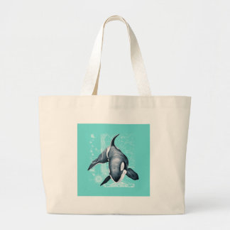 Orca Teal White Large Tote Bag