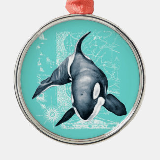 Orca Teal White Metal Ornament