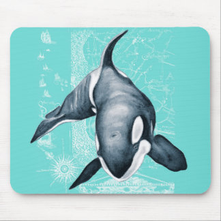 Orca Teal White Mouse Pad