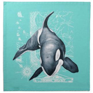 Orca Teal White Napkin