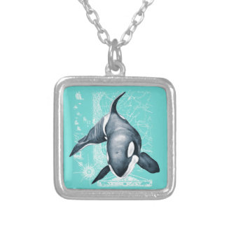 Orca Teal White Silver Plated Necklace
