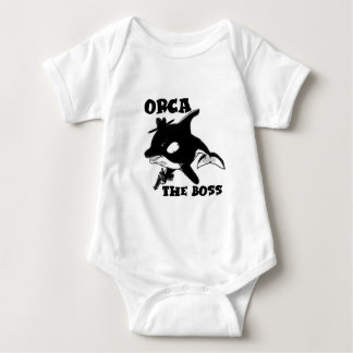 orca the boss cartoon style funny illustration baby bodysuit
