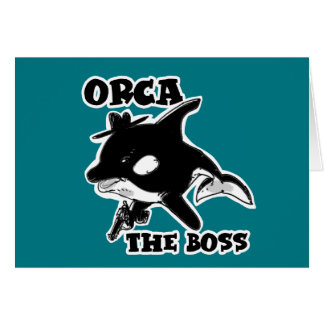 orca the boss cartoon style funny illustration card