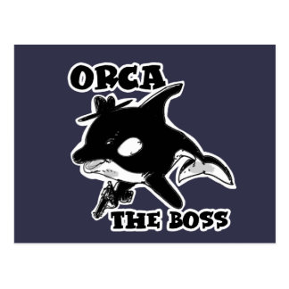 orca the boss cartoon style funny illustration postcard