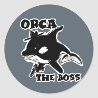 orca the boss cartoon style funny illustration round sticker